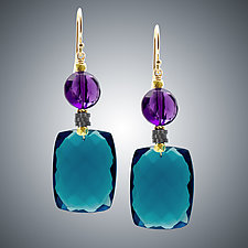 London Blue Quartz & Amethyst Earrings by Judy Bliss (Gold & Stone Earrings)