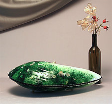Grand Moule Tabletop Sculpture in Green by Michael Dupille (Art Glass Sculpture)