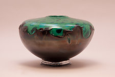 Green Vessel with Black Luster Overlay by Dierk Van Keppel (Art Glass Vessel)