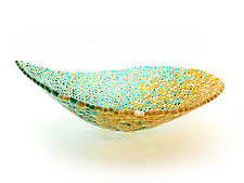 Nido 2 Celeste Blue and Amber Bowl by Joseph Enszo (Art Glass Bowl)