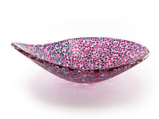 Nido 9 Wet Slate Blue and Amaranth Pink Bowl by Joseph Enszo (Art Glass Bowl)