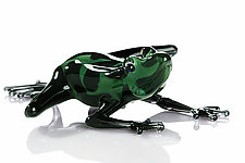 Dark Green Frog by Jennifer Caldwell and Jason Chakravarty (Art Glass Sculpture)