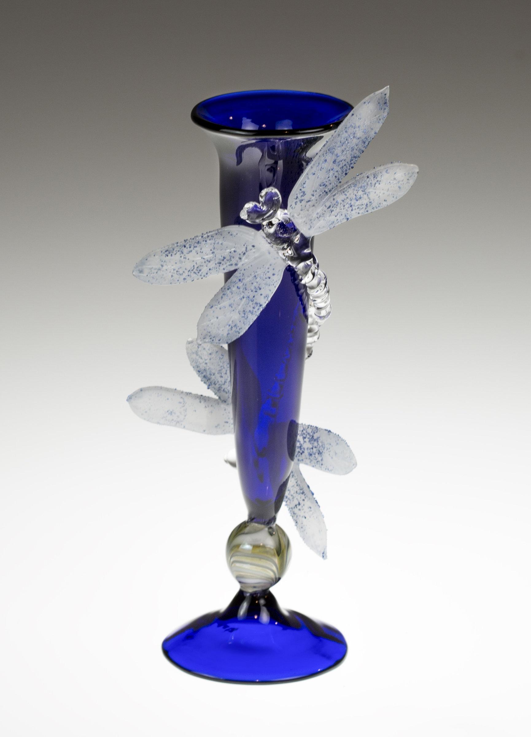 Cobalt Blue Bud Vase With Dragonfly By Loy Allen Art