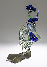 Morning Glory with Blue Bird by Loy Allen (Art Glass Sculpture)