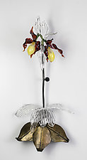 Lady Slipper Wall Piece by Loy Allen (Art Glass Wall Sculpture)