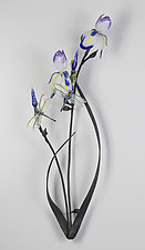 Iris with Dragonflies Wall Piece by Loy Allen (Art Glass Wall Sculpture)