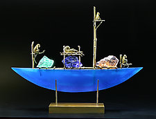 Monkey Boat by Georgia Pozycinski and Joseph Pozycinski (Art Glass & Bronze Sculpture)