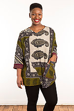 Kantha Bara Bara Top #3 by Mieko Mintz  (Size M (10-12), One of a Kind Top)