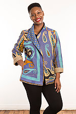 Kantha Short Jacket #2 by Mieko Mintz  (Size L (14-16), One of a Kind Jacket)