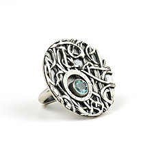 Tangle Lattice Gemstone Ring by Janet Blake (Silver & Stone Ring)