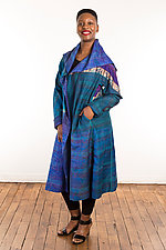 Silk A-Line Long Coat #1 by Mieko Mintz  (Size 1 (2-14), One of a Kind Coat)