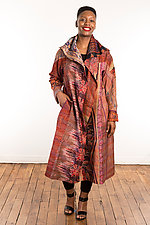 Silk A-Line Long Coat #2 by Mieko Mintz  (Size 1 (2-14), One of a Kind Coat)