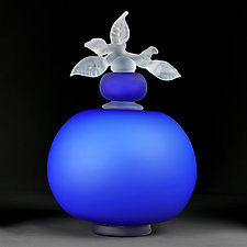 Novi Zivot (New Life) Satin Marine Blue Large Sphere by Eric Bladholm (Art Glass Vessel)