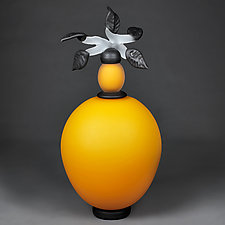 Novi Zivot (New Life) Satin Sunflower Tall Sphere by Eric Bladholm (Art Glass Vessel)