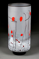 Zimska Jabluka Jasan (Winter Apples Clear) Tall Vase by Eric Bladholm (Art Glass Vase)