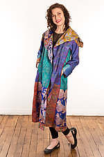 Silk A-Line Long Coat #3 by Mieko Mintz  (Size 1 (2-14), One of a Kind Coat)