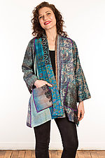 Silk A-Line Jacket #3 by Mieko Mintz  (Size 0 (0-4), One of a Kind Jacket)