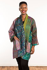 Silk A-Line Jacket #4 by Mieko Mintz  (Size 2 (14-18), One of a Kind Jacket)
