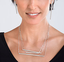 Trapeze Asymmetrical Jewelry by Rina S. Young (Silver Necklace)