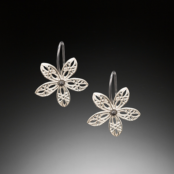 Lace Flower Silver Hook Earrings