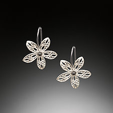 Lace Flower Silver Hook Earrings by Priya Himatsingka (Silver Earrings)