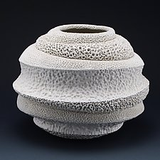 Juliette Undulating Coral Collage Vessel by Judi Tavill (Ceramic Vessel)