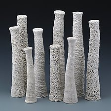 Stacia Grouping of Nine Textured Narrow Vases by Judi Tavill (Ceramic Vessels)