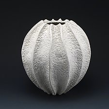 Daryl Deep Ridge Coastal Texture Vessel by Judi Tavill (Ceramic Vessel)