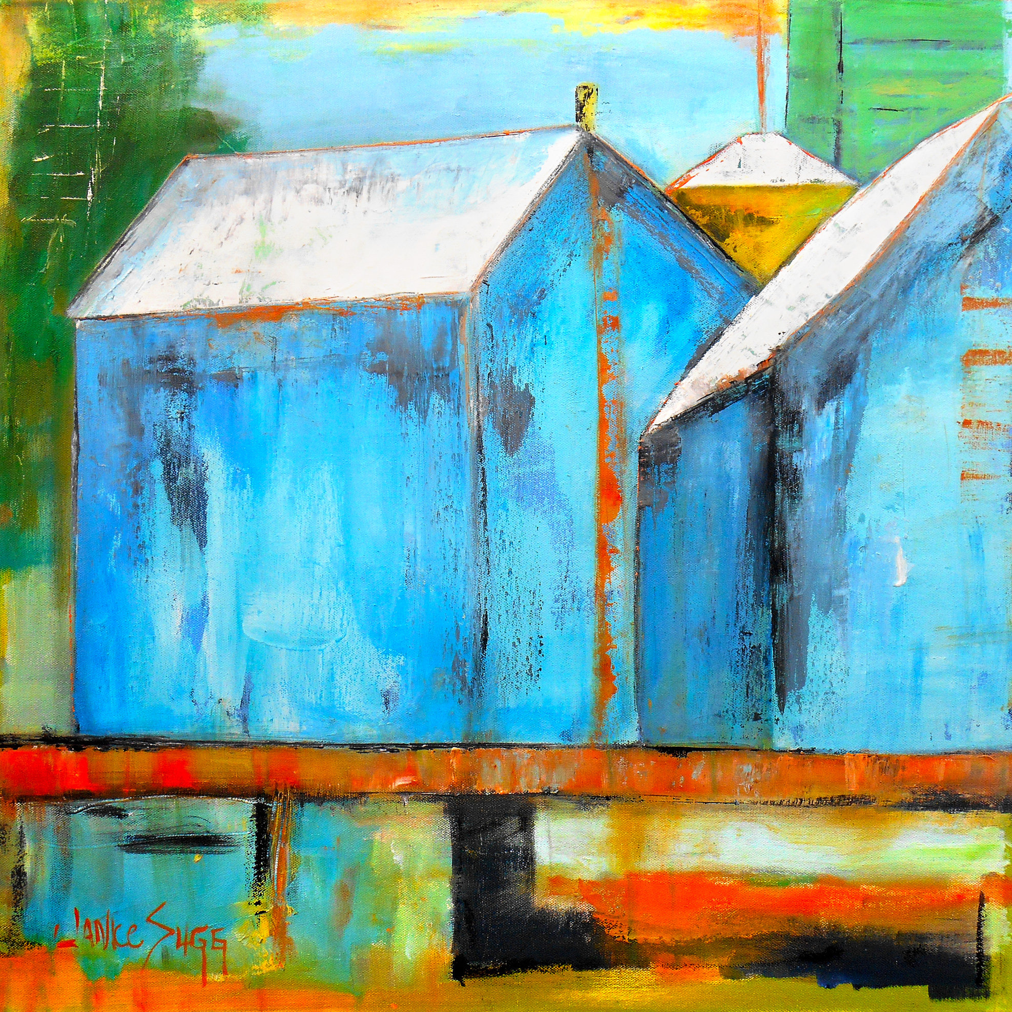 Blue lake house at sunset by janice sugg oil painting for Will oil paint stick to glass