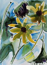 Sunflowers at End of Season by Alix Travis (Watercolor Painting)
