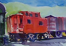 Caboose on Delaware and Ulster Railroad by Alix Travis (Watercolor Painting)