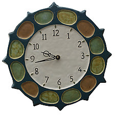 Nautical Wheel Clock in Blue Jade, Orange, Yellow & Green Glaze by Beth Sherman (Ceramic Clock)