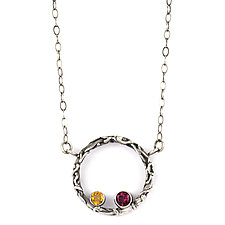 Tangle Halo Two-Gemstone Necklace by Janet Blake (Silver & Stone Necklace)