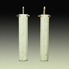 Imaginary Cursive Half-Tube by Beth Novak (Enameled Earrings)