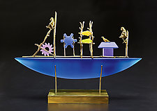 Blue Monkey Boat II by Georgia Pozycinski and Joseph Pozycinski (Art Glass & Bronze Sculpture)