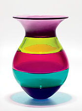 Color Block Vase in Jewel by Michael Trimpol and Monique LaJeunesse (Art Glass Vase)