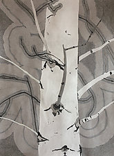 Black and White Aspen II by Meredith Nemirov (Watercolor & Ink Drawing)