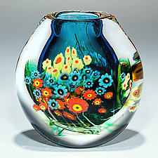 Turquoise Landscape Series Cased Vase by Shawn Messenger (Art Glass Vase)