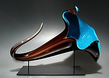 Teal & Uranium Bloom by David Patchen (Art Glass Sculpture)