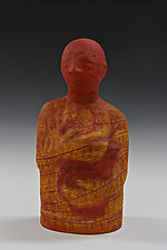 Holding Heart in Orange by Beth Ozarow (Ceramic Sculpture)