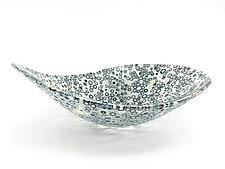 Nido 1 Ivory, Midnight, and Fuchsia Bowl by Joseph Enszo (Art Glass Bowl)