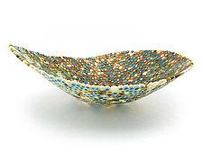 Nido 6 Turquoise, Amber, and Orange Bowl by Joseph Enszo (Art Glass Bowl)