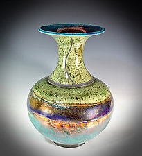 Royal Bands - Raku Trumpet Vase by Tom Neugebauer (Ceramic Vase)