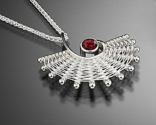 Fandango Silver Pendant with Garnet by Marie Scarpa (Silver & Stone Necklace)