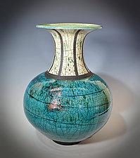 Turquoise Trumpet Vase by Tom Neugebauer (Ceramic Vessel)