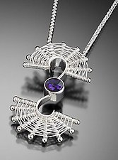 Fandango Silver Double Swirl Pendant with Amethyst by Marie Scarpa (Silver & Stone Necklace)