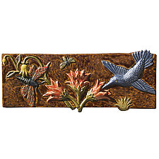 Three Pollinators in Rust, Orange & Blue by Beth Sherman (Ceramic Wall Sculpture)
