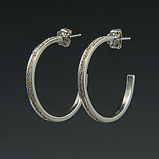 Large Gold Dust Hoops by Dean Turner (Gold & Silver Earrings)