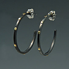 Large City Lights Hoops by Dean Turner (Gold & Silver Earrings)