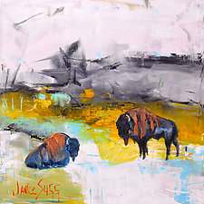 Bison Drinking from Cool Spring by Janice Sugg (Oil Painting)